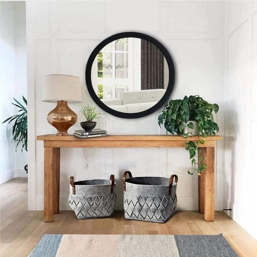 Round Wooden Floating Beveled Wall Mirror