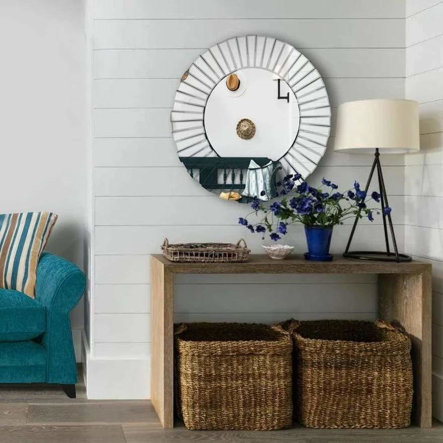 Round Floating Wall Mirror with Mirrored Frame Work
