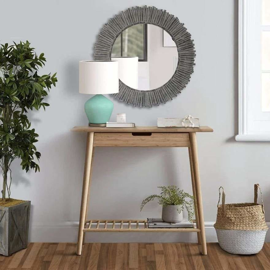 Round Beveled Floating Wall Mirror with Sunflower Wooden Frame