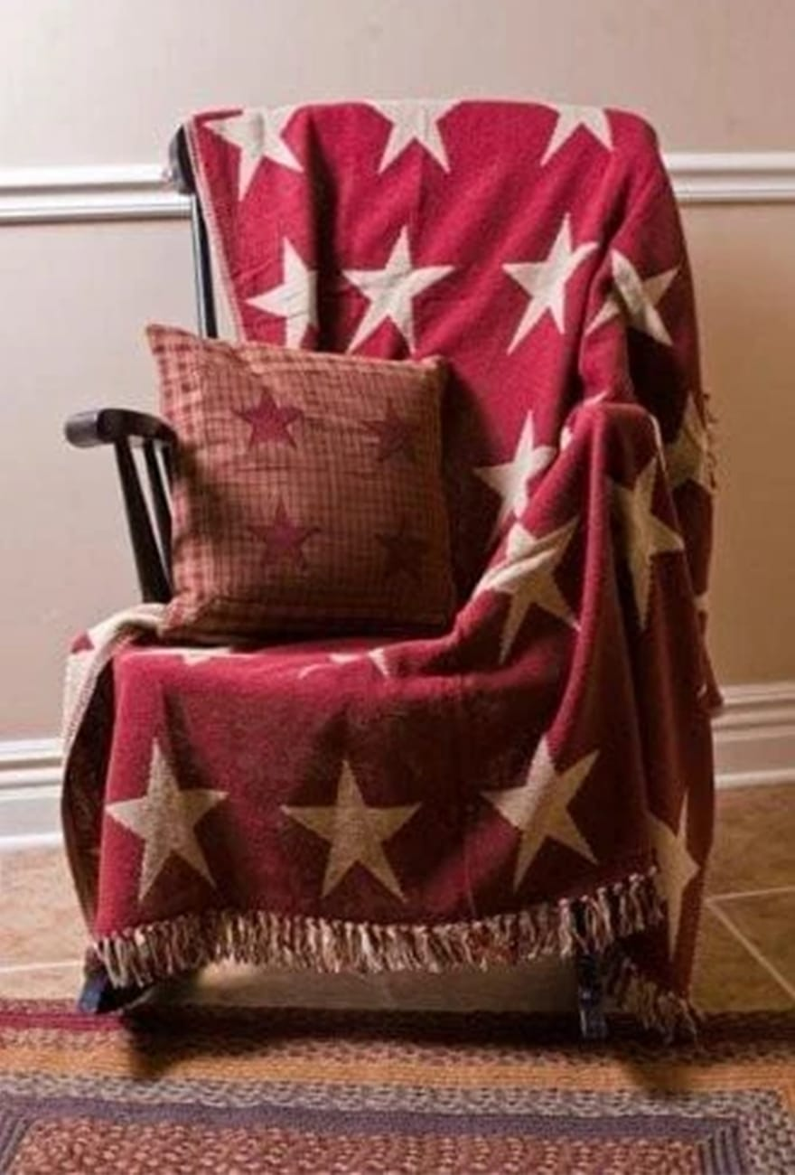 Wonderful Patterned Burgundy Star Throw Woven