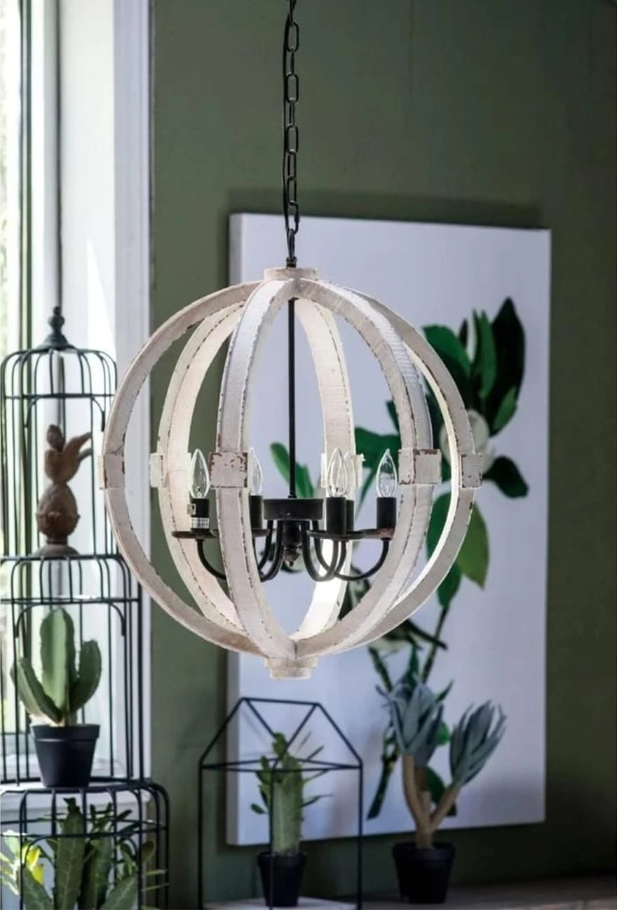 6-Bulb Calder Orb Chandelier With Metal Chain