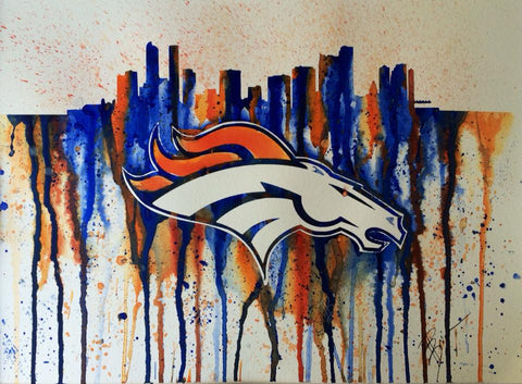 "Denver Broncos 12""x16"" Pre-Masked Watercolor Canvas"