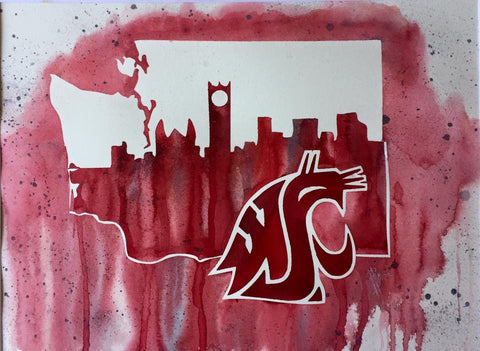 "WSU Cougars 12""x16"" Pre-Masked Watercolor Canvas"