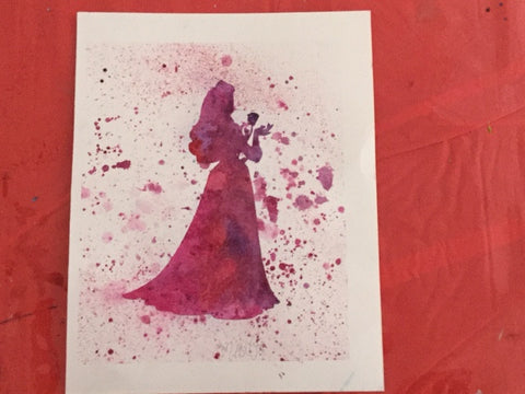 "Princess Silhouette pre-masked 9"" x12"" Watercolor Canvas"