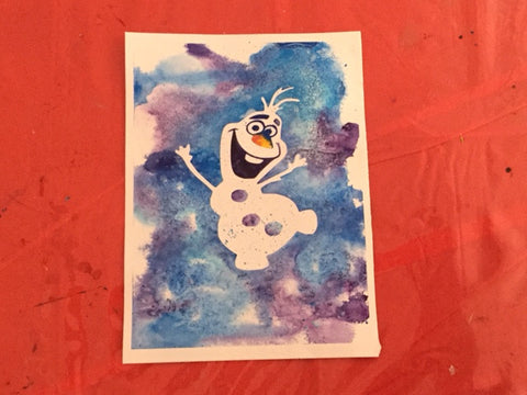Frozen Silhouette pre-masked Watercolor Canvas