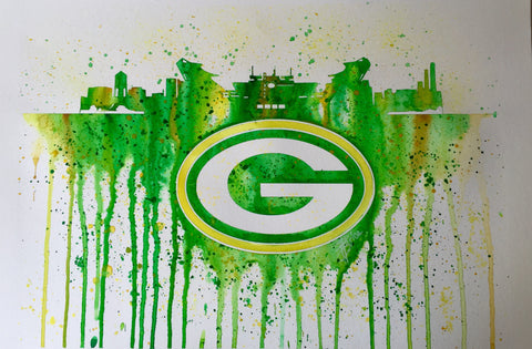 "Green Bay Packers 12""x16"" Pre-Masked Watercolor Canvas"