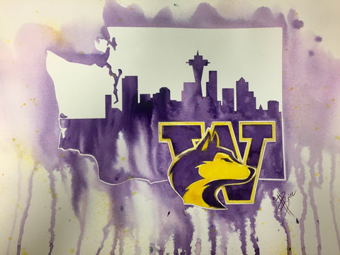"UW Huskies 12""x16"" Pre-Masked Watercolor Canvas"