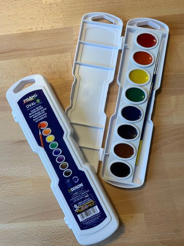 PRANG semi-moist Watercolor pans with brush