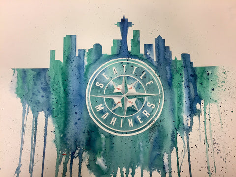 "Seattle Mariners 12""x16"" Pre-Masked Watercolor Canvas"