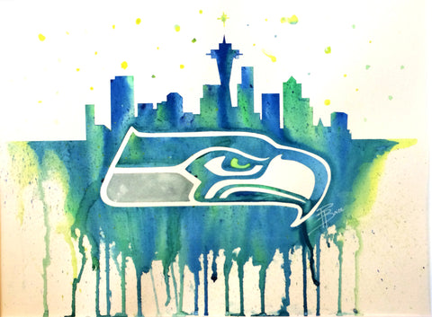 "Seattle Seahawks 12""x16"" Pre-Masked Watercolor Canvas"