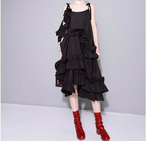 Alvarez Asymmetrical Ruffle Dress - Black