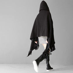 Marigold Shadows accessories Shi Hooded Fringe Shawl - Black