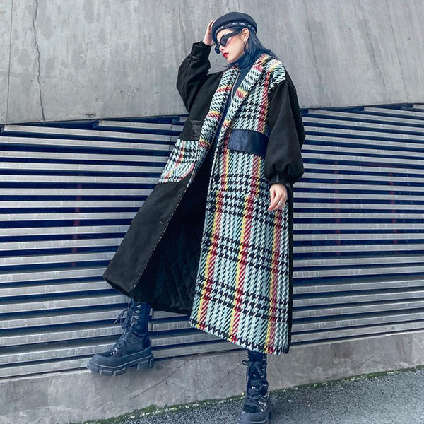 Marigold Shadows coats Mayu Pocket Long Plaid Coat
