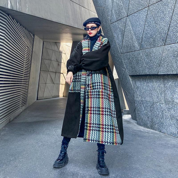 Mayu Pocket Long Plaid Coat