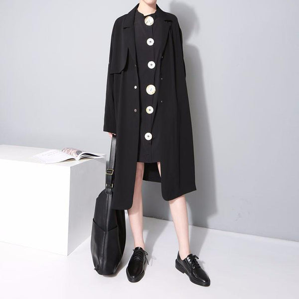 Marigold Shadows dresses Alurista Big Button Shirt Dress - Black
