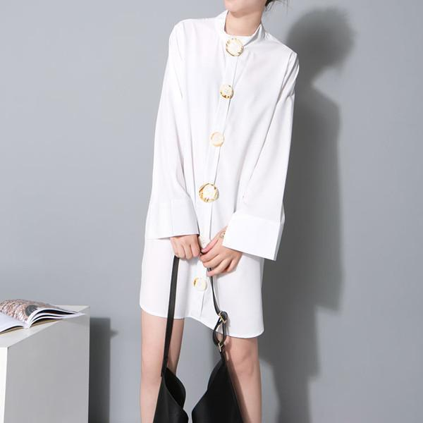 Marigold Shadows dresses Alurista Big Button Shirt Dress - White