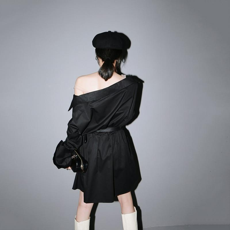 Marigold Shadows dresses Chizuru Long Sleeve Shirt Dress - Black