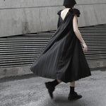 Marigold Shadows dresses Shioli Backless Pleated Midi Dress - Black