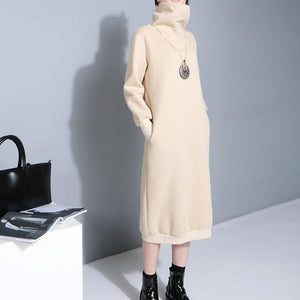 Marigold Shadows dresses Turts Turtleneck Dress - Eggshell