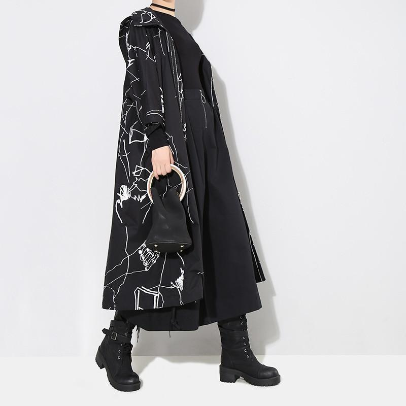 Marigold Shadows jackets Kaze-burēka Hooded Printed Coat