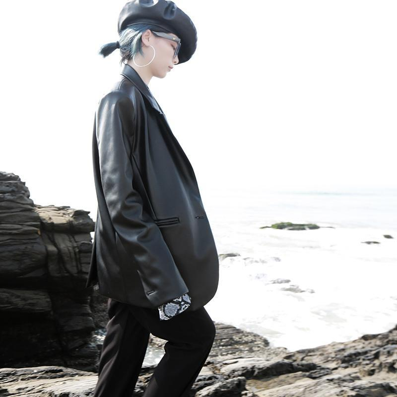 Marigold Shadows jackets Misaki Vegan Leather Pocket Jacket