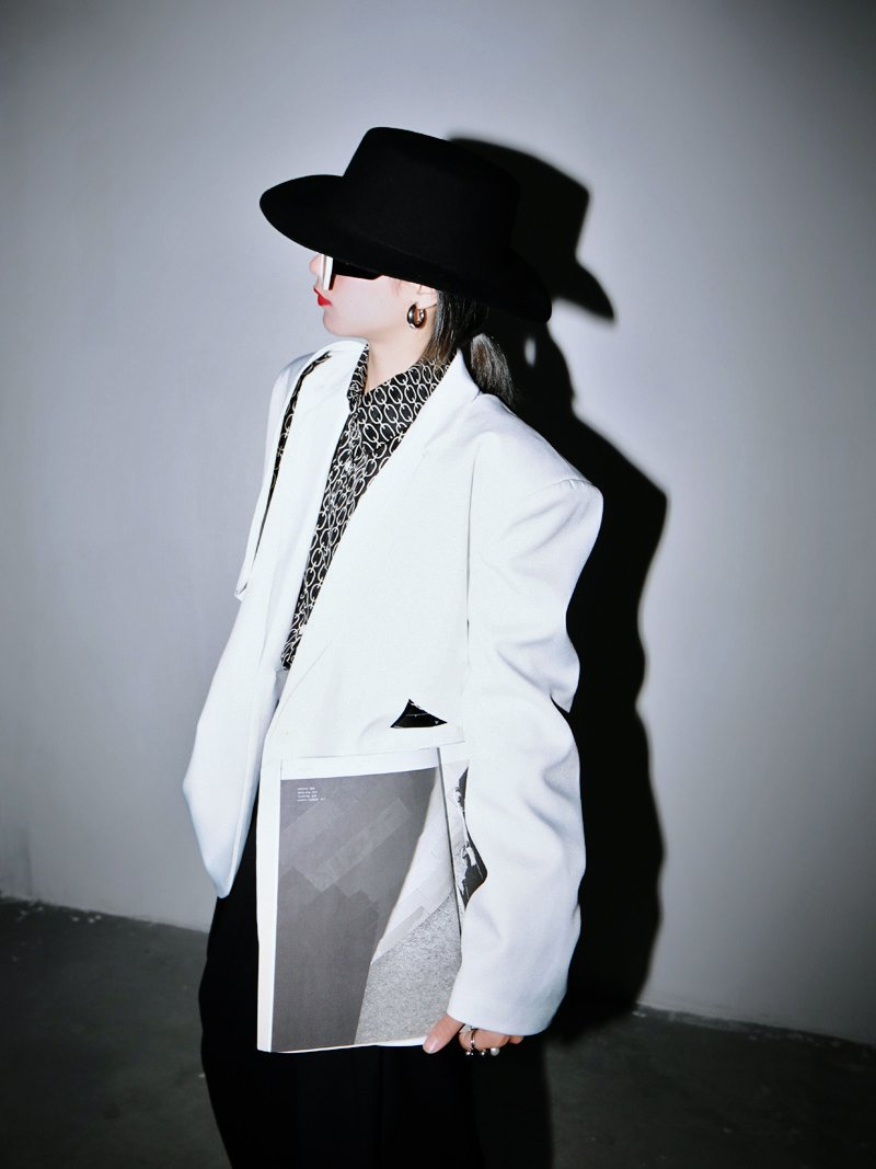 Marigold Shadows jackets Murasaki Hollow Out Blazer - White
