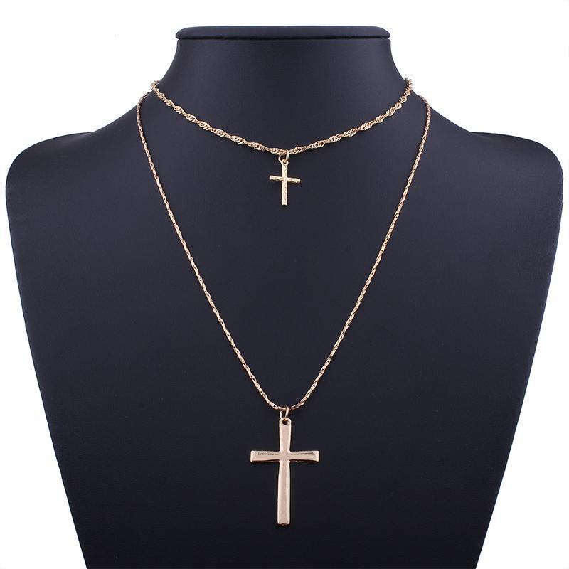 Marigold Shadows jewelry Elon Cross Layer Necklace - Gold