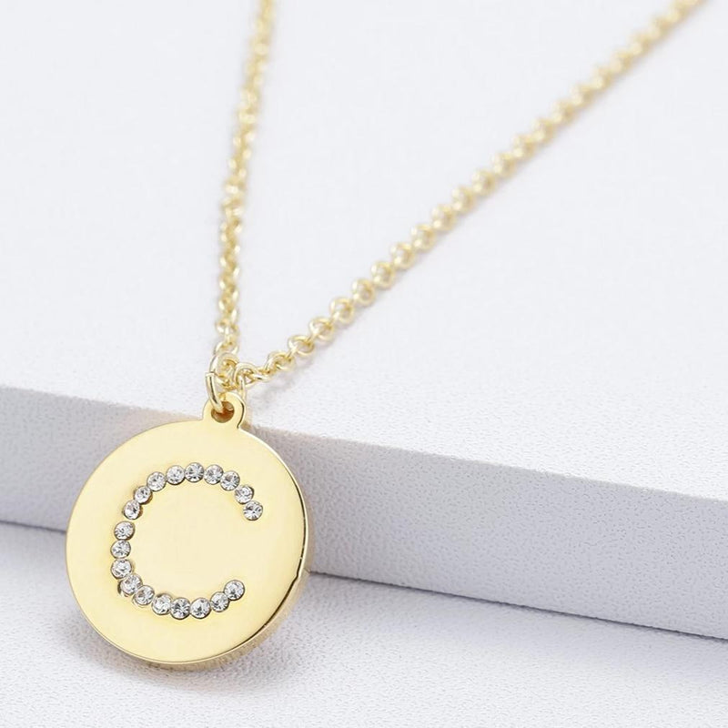 Marigold Shadows jewelry Naoko Engraved Letter Crystal Pendant Necklace