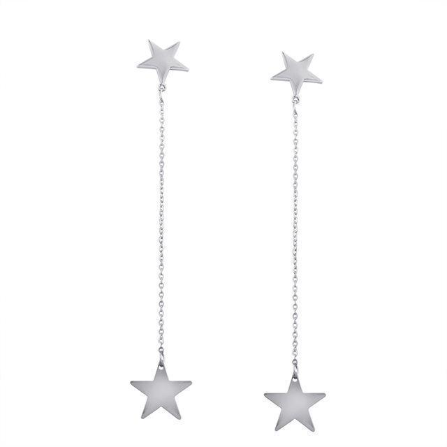 Marigold Shadows jewelry Sze Star Drop Earrings - Silver