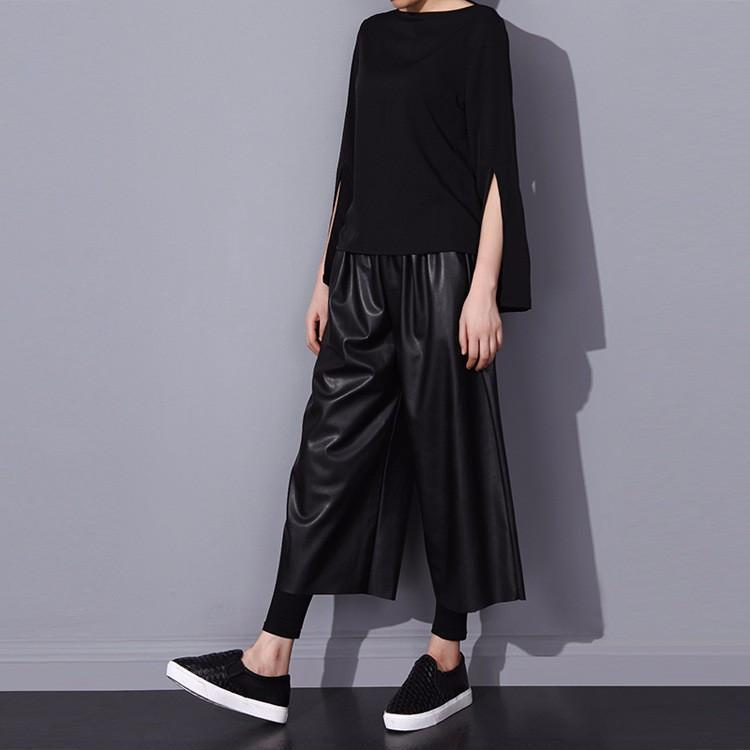 Marigold Shadows pants Bamstone Vegan Leather Crop Pants