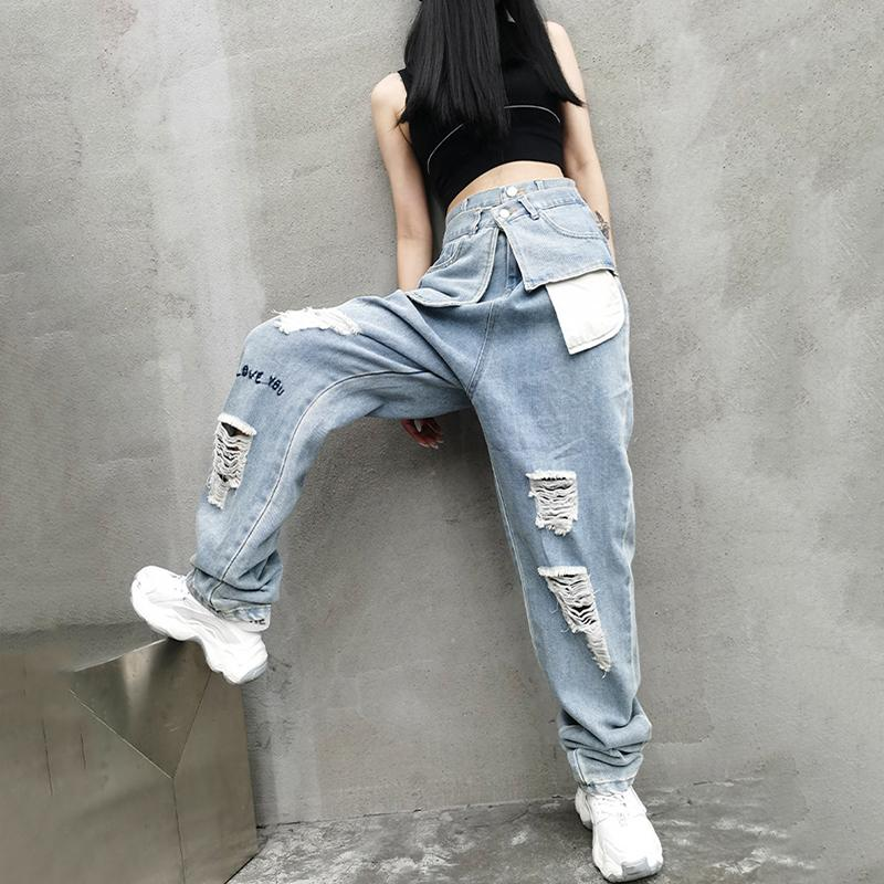 Marigold Shadows pants Kuma High Waist Ripped Denim Pants