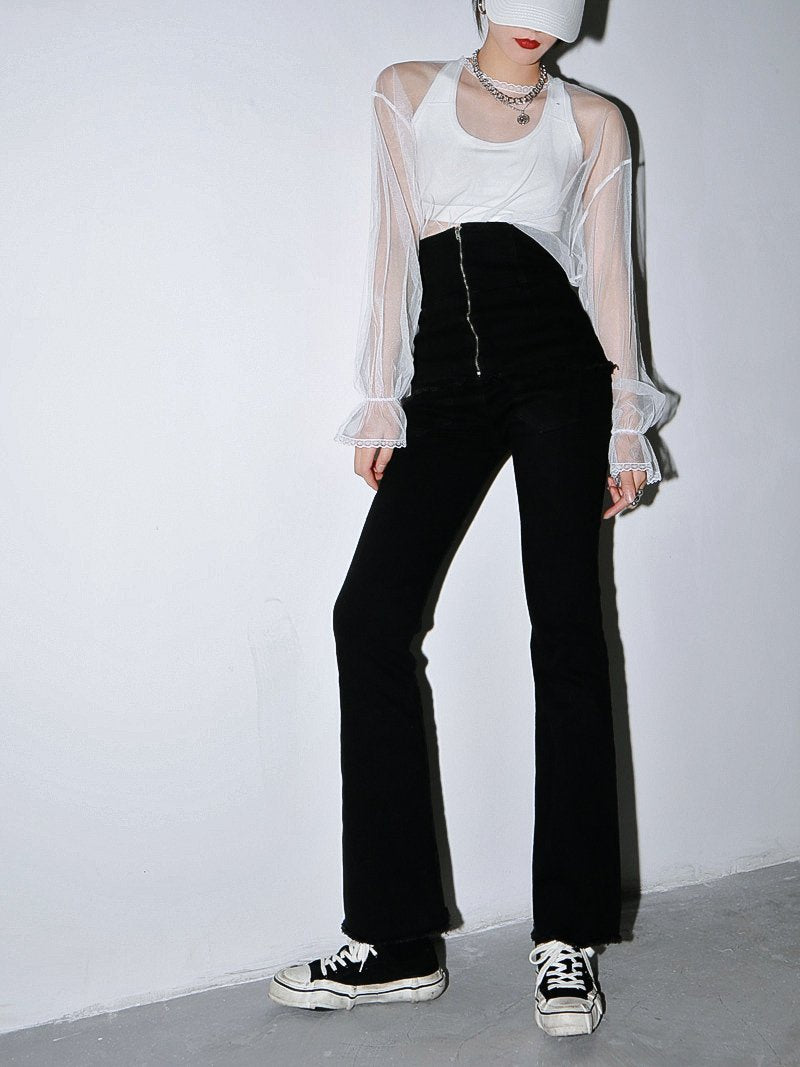 Marigold Shadows pants Shaiwase Long Zipper Wide Leg Pants
