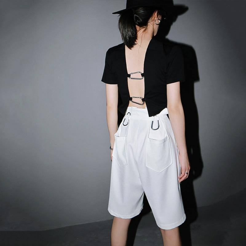 Marigold Shadows pants Shinon Buckle Wide Knee Length Pants - White