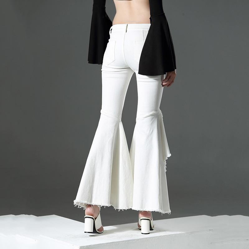 Marigold Shadows pants Usatani High Waisted Pocket Flare Pants - White