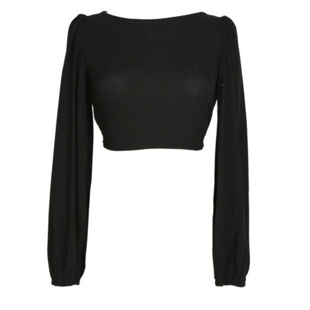 Marigold Shadows shirts Miyu Criss-Cross Back Long Sleeve Shirt - Black