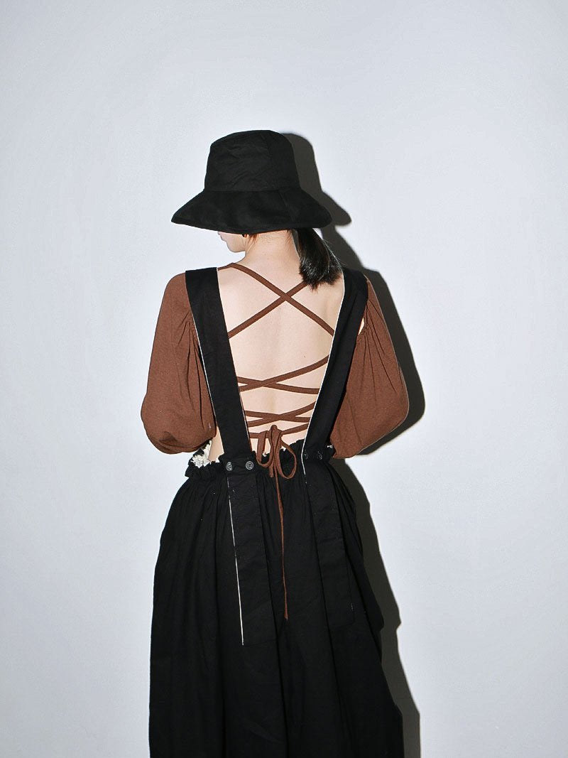 Marigold Shadows shirts Miyu Criss Cross Back Long Sleeve Shirt - Coffee