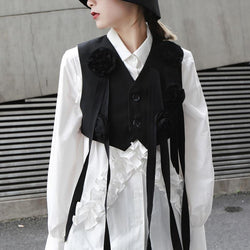 Marigold Shadows shirts ***Suzu V-Neck Sleeveless Black Short Vest