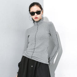 Marigold Shadows sweaters Chinami Turtleneck Knitted Sweater - Gray