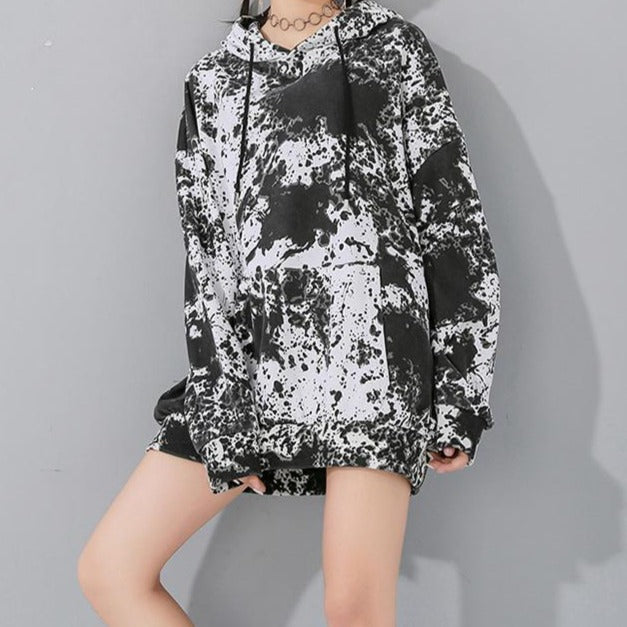 Rila Loose Printed Hooded Sweatshirt - White/Black
