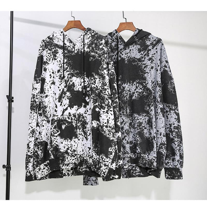 Marigold Shadows sweaters Rila Loose Printed Hooded Sweatshirt - White/Black