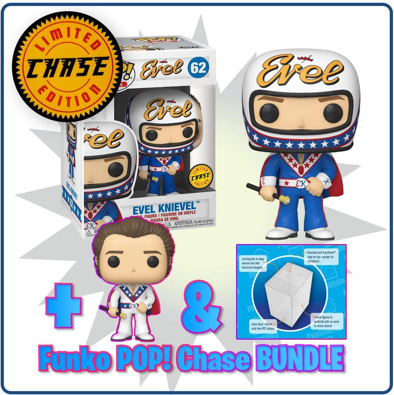 Funko Chase POP Evel Knievel Chase Bundle (2 POPS and PopShields) Funko Pop Icons: Evel Knievel Popoloco