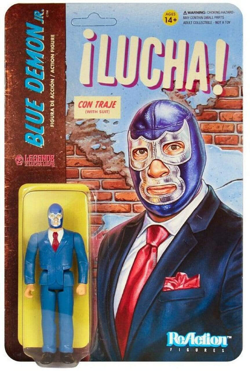 Super7 Action Figures Legends of Lucha Libre Blue Demon Jr. In Suit 3 3/4 in. ReAction Figure Popoloco
