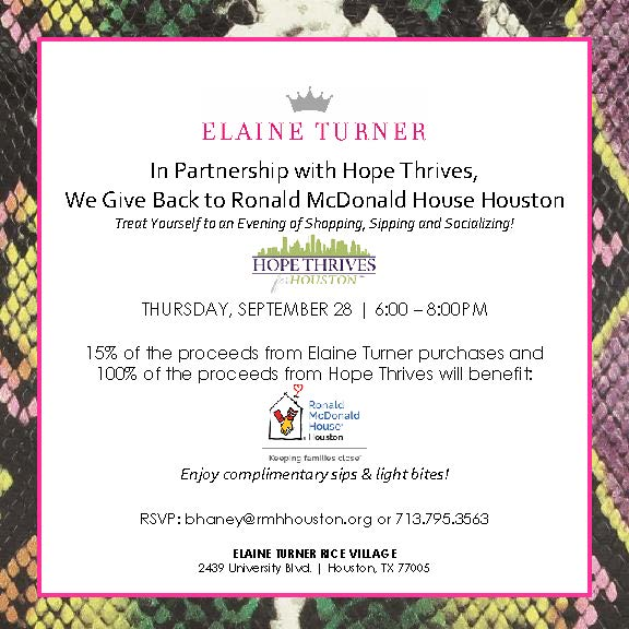 Ronald McDonald House Houston Event -- THURSDAY, SEPTEMBER 28 | 6:00 – 8:00PM