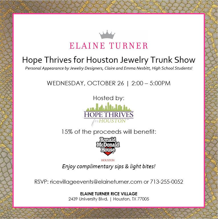 Jewelry Trunk Show at Elaine Turner Rice Village, Extended through Saturday, October 29