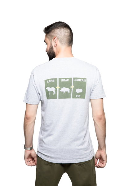 Lamb+Boar+Guinea Pig Tee - Grey/Green