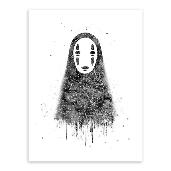 Spirited Away No Face Watercolor Poster