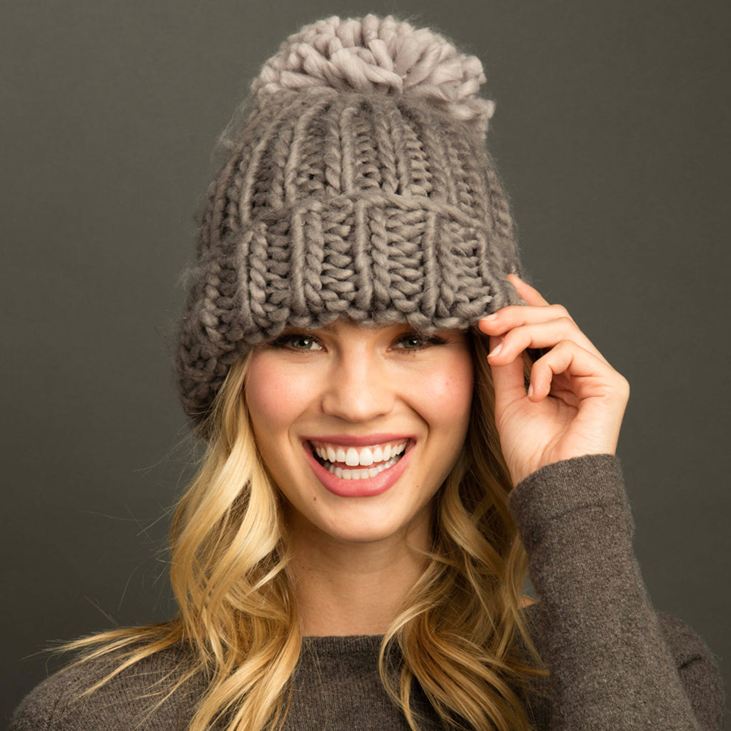 Seattle Puff Pom Bobble Hat Flannel