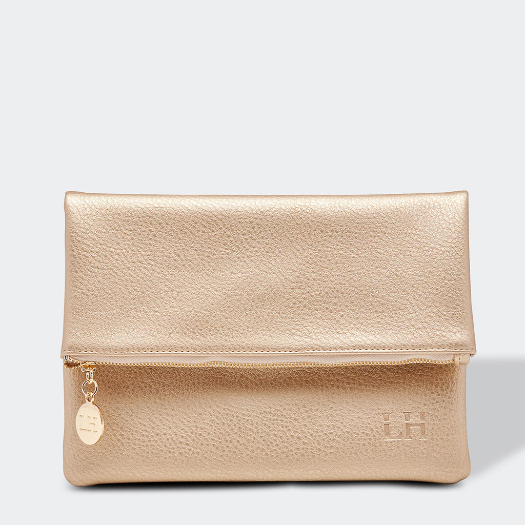 Louenhide Billie Fold Over Clutch Bag Champagne