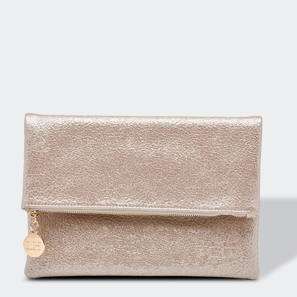 Louenhide Billie Fold Over Clutch Bag Silver Gold