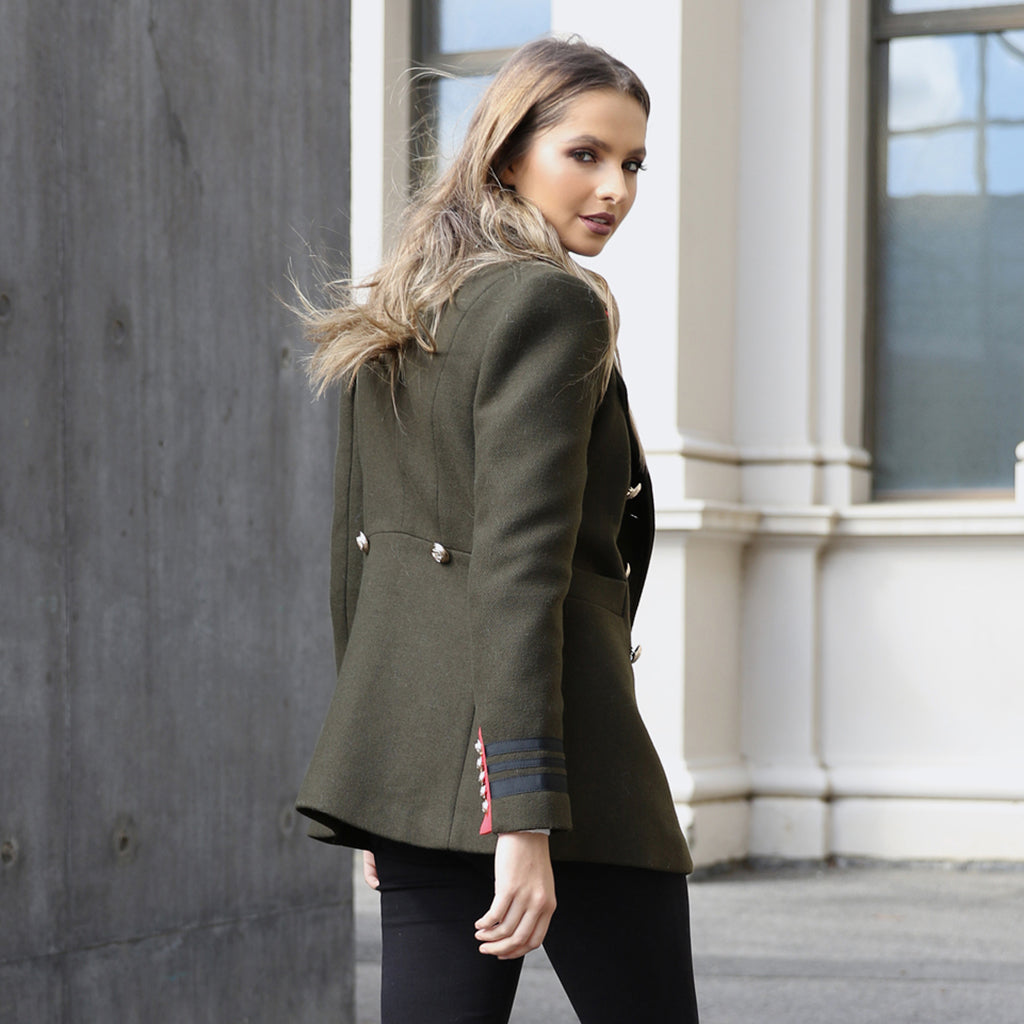 Madison the Label Buckingham Military Coat Khaki